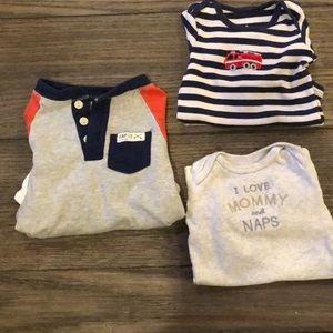 (3) Carters/Gap Long Sleeved Baby Boy's Onesies